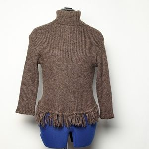 Kenzie mohair blend turtleneck sweater with fringe